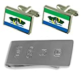 Serra City Espirito Santo State Flag Cufflinks & James Bond Money Clip