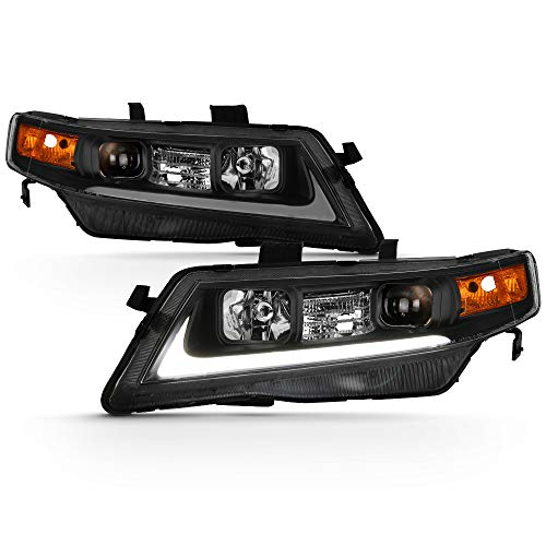 ACANII - For Black 2004-2008 Acura TSX CL9 LED Light Tube Style Projector Headlights Headlamps Driver & Passenger Side