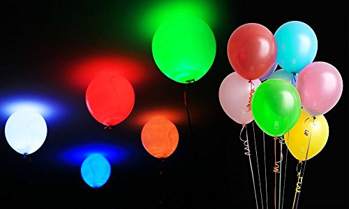GPCT LED Light Party Balloons 6 Pack W/ 6 Different Colors -- Excellent for Kids Adults Birthday Parties Events, Anniversaries, Baby Showers, New Born, Weddings, Night Decorations, & More.