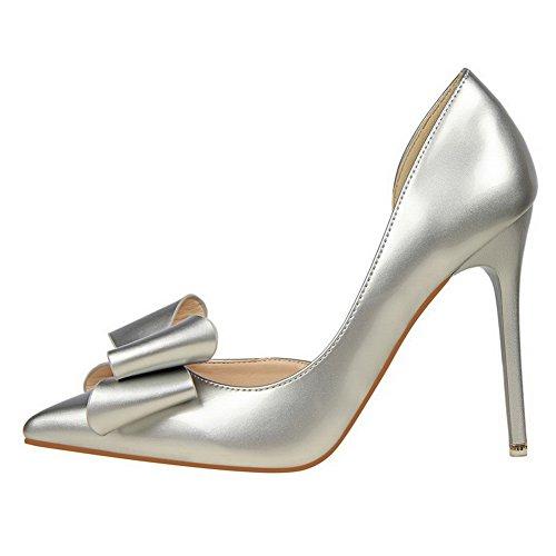 Argento Punta calzature Delle Pompe on Pu Donne Pull Solidi Weenfashion Tacchi Aguzza Chiusa 4qvf7wXnw