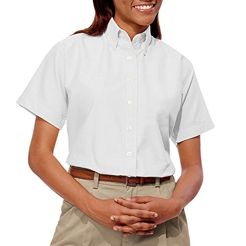 Blue Generation BG6214S - Ladies' Short Sleeve Oxford with Stain Release (Medium, White)