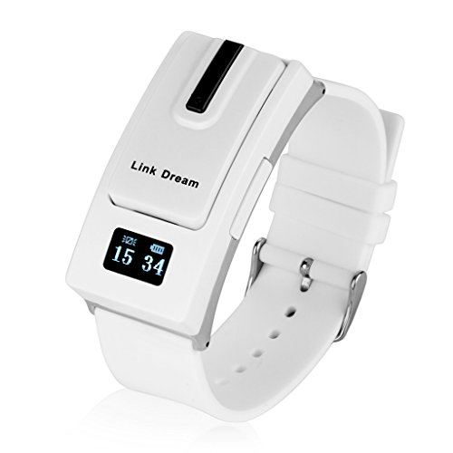 Excelvan Link Dream Smart Watch Detachable Bluetooth V3.0 Earphone Headset Call Reminder for IOS 6,6 plus,5S,Samsung S5 HTC LG Android Phone (White)