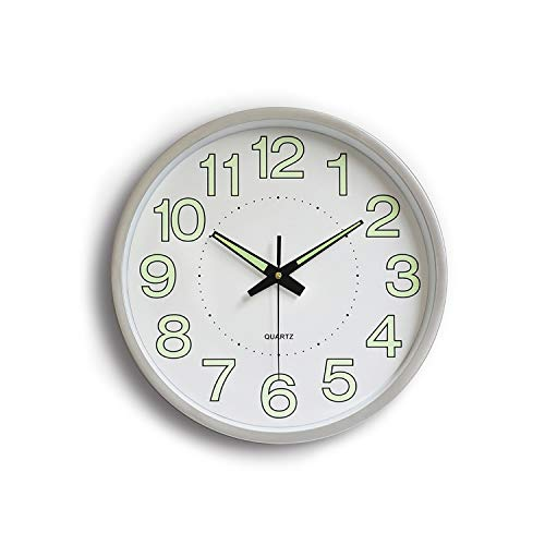12 Inch Luminous Wall Quartz Clock Home Decorations Suitable for Bedroom, Living Room, Study Room, Office, Kid's Room,Silver,12 Inch