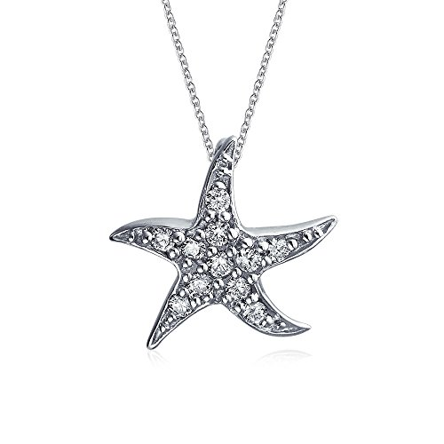 Nautical Beach Starfish Pendant Necklace For Women Dancing Sea Life Pave Cubic Zirconia CZ 925 Silver 16 Inch Chain ()