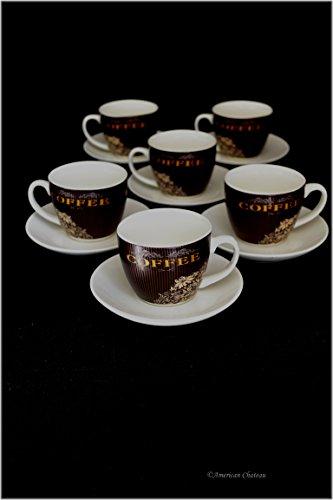 Set 6 Fine Black Copper Pin Stripe Demitasse Espresso Coffee Cups and Saucers - Chateau Le Pin