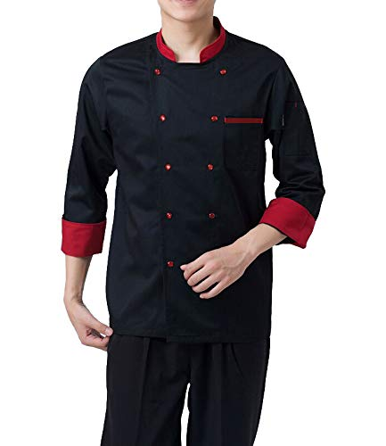 Kodenipr Club Men's and Women's Black Chef Coat Red Contrast,Poly/Cotton,Size (Large(40)) Price & Reviews