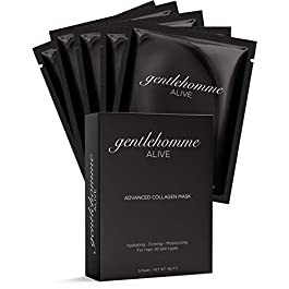 Gentlehomme Collagen Face Mask for Men – Hydrating Face Mask Sheet – Anti Aging Skin Care for Men – Hydro Gel Facial…