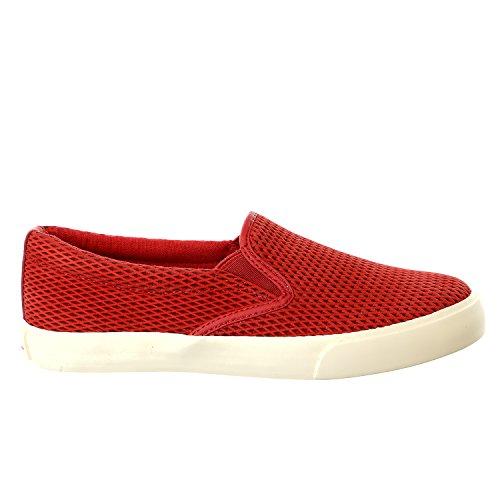 Lauren Ralph Lauren Women's Cedar Fashion Sneaker, Racing Red Diamond Grid Nubuck, 7 B US