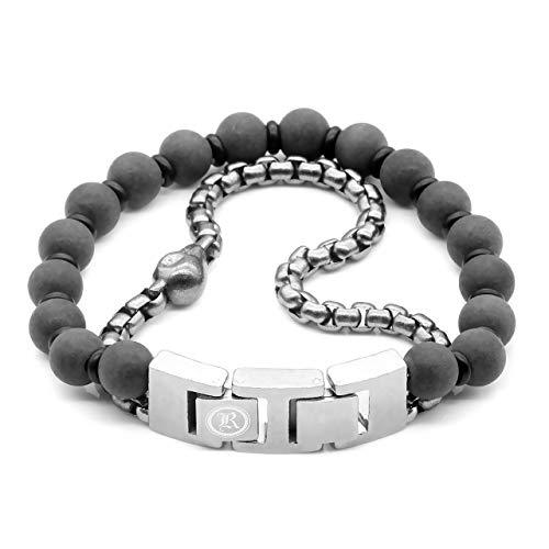 True N' Raven Skull Bracelet Skull Black Marble & Steel Box Chain Bracelet