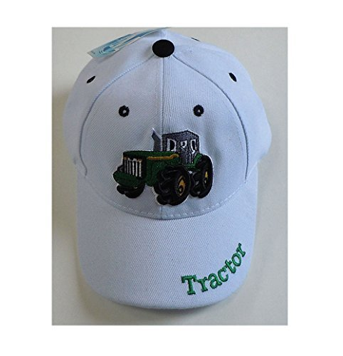 Embroidered Tractor - Children's Embroidered Tractor Baseball Cap, Available in Camouflage, Green, White or Black (White)