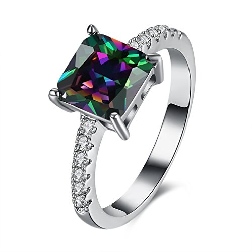 FENDINA White Gold Womens Wedding Engagement Ring Solitaire Ring 18K Rainbow Square Cut Gemstone Mystic Opal Jewelry Ring