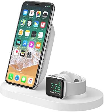 Belkin F8J235VFWHT, Base de carga Inalámbrica para iPhone + Apple Watch + Puerto USB-A, Blanco