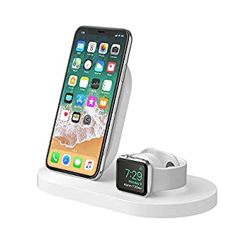 Image of Belkin Boost Up Wireless Charging Dock (Apple Charging Station for Iphone + Apple Watch + USB Port) Apple Watch Charging Stand, iPhone Charging Station, iPhone Charging Dock (White) Charging Stations