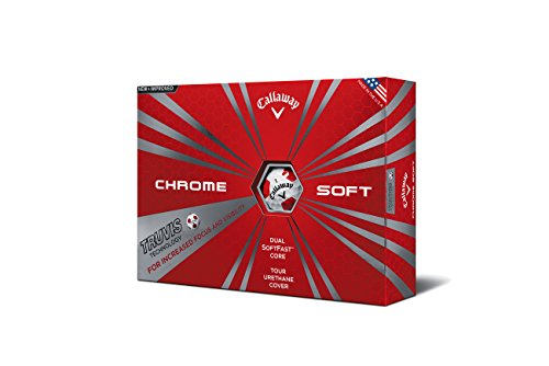 Callaway Chrome Soft 2016 Truvis Golf Balls, White/Red