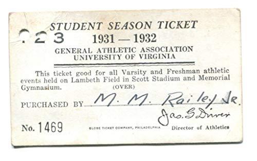 1931-32 UVA Virginia All Sport Student Season Ticket Football 43587