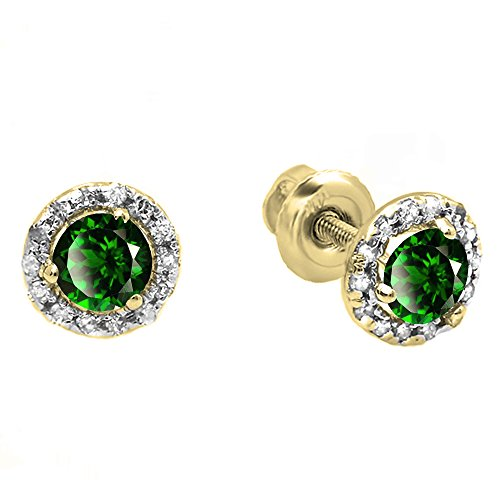Earrings Gold 10k Emerald Yellow (Dazzlingrock Collection 10K Round Lab Created Emerald & White Diamond Halo Stud Earrings, Yellow Gold)
