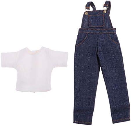 ファッション ドール服 Tシャツ サスペンダージーンズ 1/6スケールブライス人形用