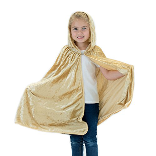 Kids Cosplay Hooded Cloak Cape - Gold