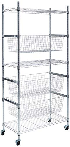 Honey-Can-Do Sports Accessory Garage Organizer with Baskets, 35.43