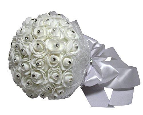 Wedding Bouquets Crystal Silk Roses Bridal Wedding Party Bouquets - Satin Silk Rhinestones Accents ()