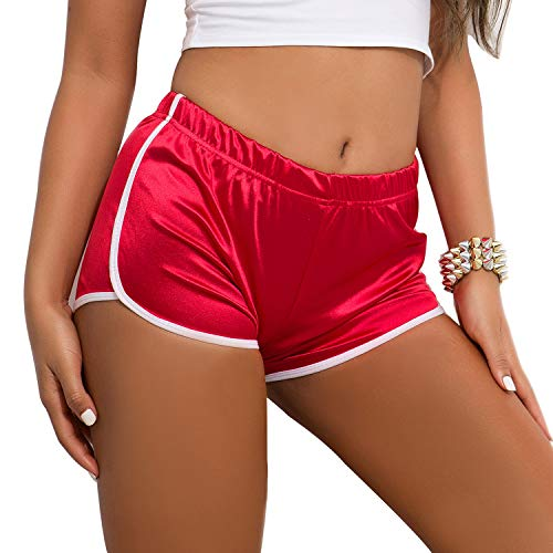 Tulucky Women's Sexy Booty Dolphin Shorts Sports Gym Workout Night Club Hot Pants(Red,M) ()