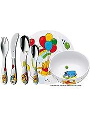 WMF Disney Nalle Puh barnporslin 6 delar, barnporslin med bestick i rostfritt stål, från 3 år, Cromargan polerad, diskmaskinssäker