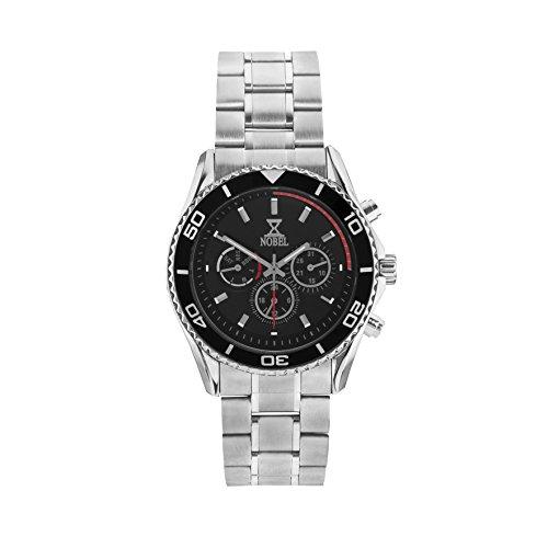 NOBEL Classic Sport Wristwatch with Black Enamel Rotating Bezel - ISA Swiss Movement