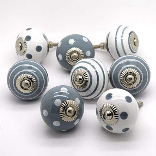 Juego de 8tradicional gris porcelana cerá mica China pomos para armarios armario cajones tiradores de puerta Pushka Home
