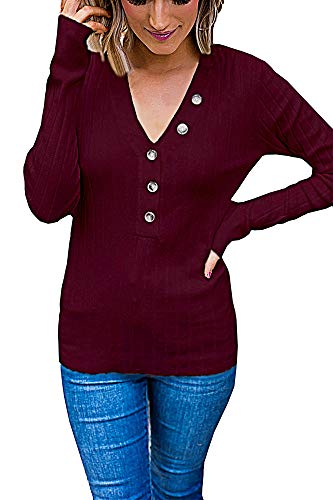 (Cashsun Women's Button V Neck Ribbed Tops Long Sleeve Sexy Henley Shirts Knit Tunic Blouse Tops,Wine Red XL)