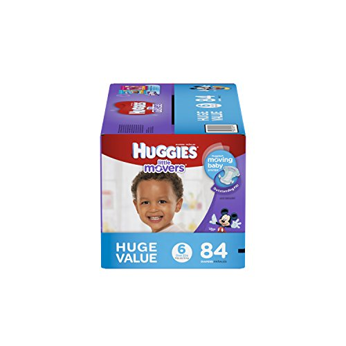 HUGGIES Little Movers Diapers, Size 6, 84 Count