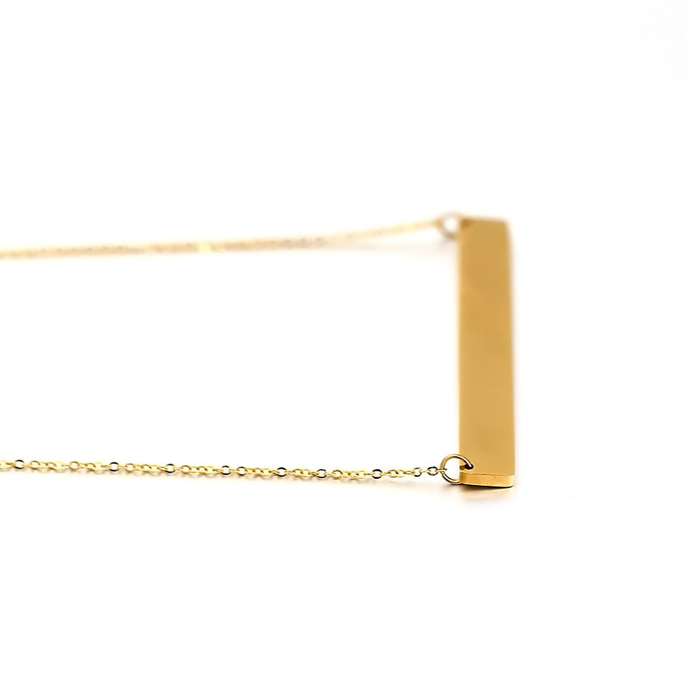 Lazycat Stainless Steel 18K Plated Bar Necklace with Engravable Bar Pendant (Gold) by Lazycat (Image #8)