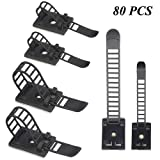 XLX 80PCS 2 Values Adjustable Cable Clamp Self-Adhesive Cable Tie Mount Bases for Wire Tube Plastic Wire Cord Clip Fixer (Black)