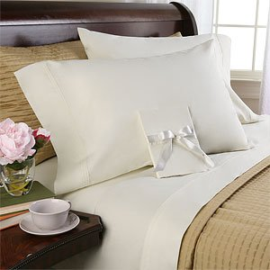 WrinkleFree cotton Blend Solid Ivory Queen Sheet set 600 Thread count, 4pc Deep pocket 600 TC