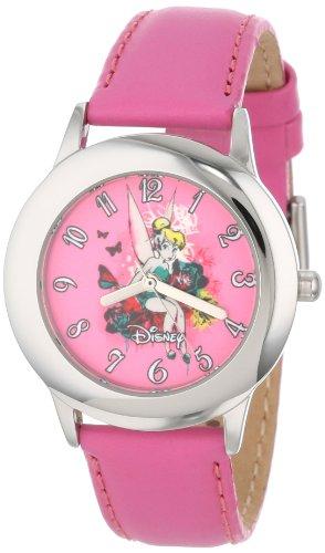 Disney Kids' W000986 Tween Tinker Bell Stainless Steel Peach Leather Strap Watch