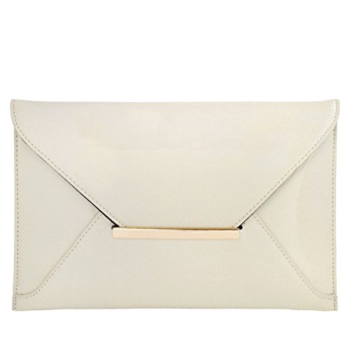 Faux Patent Leather Envelope Candy Clutch Bag, (Ivory Handbag Purse)