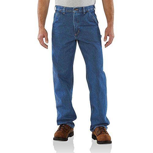 Heavyweight Cotton Denim Work Jeans - Carhartt Men's B237 Signature Denim Loose-Original Fit Jean - 36W x 36L - Darkstone
