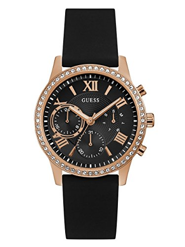 GUESS  Comfortable Rose Gold-Tone + Black Stain Resistant Silicone Watch with Day, Date + 24 Hour Military/Int'l Time. Color: Black (Model: U1135L4) (Rhinestone Guess Watch)