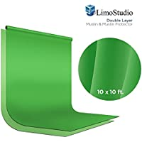 LimoStudio Green Chromakey Photo Video Studio Fabric Backdrop 10 x 10 ft., Background Screen, Pure Green Muslin, Double Layer with Fabric Protector, Photography Studio, AGG2035