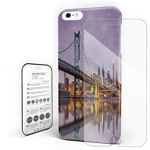 Compatible with iPhone 6 Plus Case and iPhone 6s Plus Case, Hard PC Back Phone Case with Tempered Glass Screen Protector The Delaware River Dusk Cityscape Shockproof Cover -