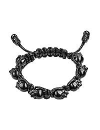 Bomberg M13M Skully Bracelet, Black Thread, Black Pvd Heads With Black Eyes, Size: Medium for Hombre,
