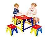Express Trading  MULTI COLOURED KIDS CHILDRENS FOLDING TABLE 4 STOOLS SEAT INDOOR OUTDOOR PICNIC