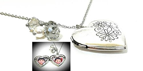Heart Picture Locket Stainless Steel Chain Necklace Keepsake Gift for Women 30