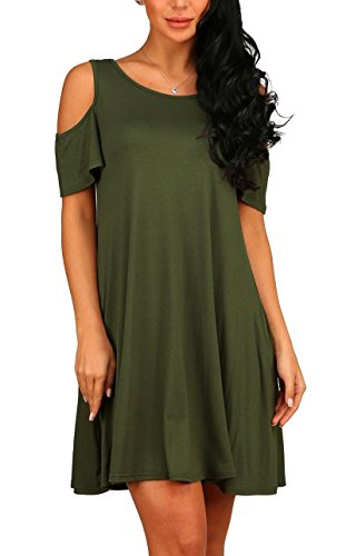 PCEAIIH Women's Summer Cold Shoulder Tunic Top Swing Dresses Loose T-Shirt Casual Dress with Pockets (X-Large, Army Green)