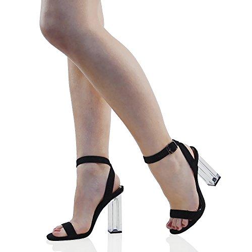 Tacco Perspex Scamosciato ESSEX Sandalo Cinturino Festa Scarpa Trasparente Donna Fibbia GLAM Finto Caviglia UnBRYB8q