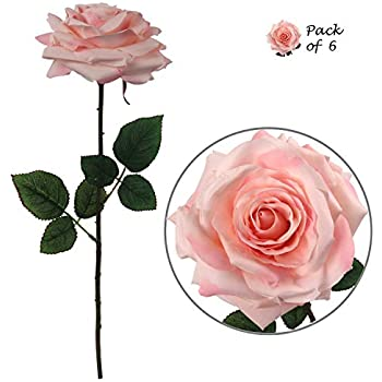 Premium Pink Silk Artificial Roses for Bridal Bouquet, Wedding or Party Centerpiece Flower Decoration - Six Roses with 20