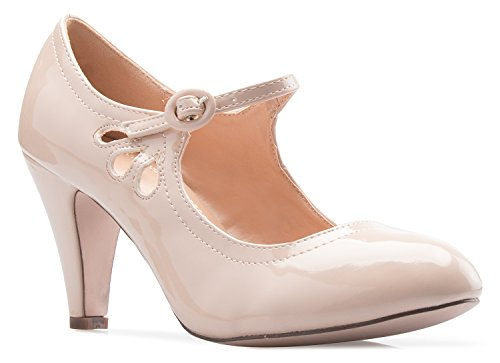 Patent Leather Vintage Heels (OLIVIA K Women's Kitten Heels Mary Jane Pumps - Adorable Vintage Shoes- Unique Round Toe Design With An Adjustable Strap,Nude Patent,7.5 B(M) US)