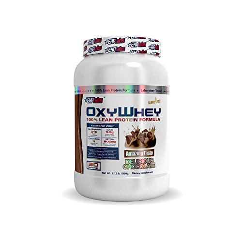 EHPlabs OxyWhey – Lean Whey Protein Delicious Chocolate (2lbs) Gluten Free, 24g of protein per serving, 5.3g of BCAAs per serving, 300mg MCT Oils – 30 Servings