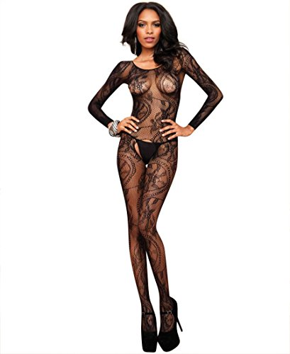 Leg Avenue Lace Bodystocking - Leg Avenue 89108 Women's Seamless Swirl Lace Bodystocking - Black - One Size