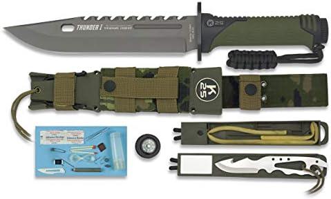 K25 Cuchillo Thunder I Camuflaje ESPAÑA Hoja 20 cm para Caza, Pesca, Camping, Outdoor, Supervivencia y Bushcraft K25 32019 + Portabotellas de regalo