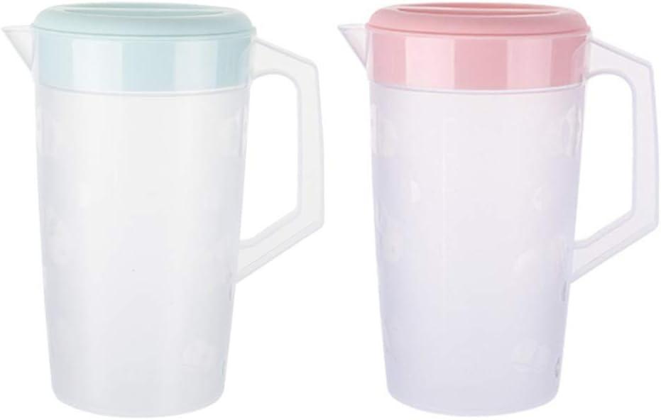 UPKOCH Jarra de plástico transparente redonda de 2 piezas con tapa para bebidas de té helado (2000 ml rosa + verde)